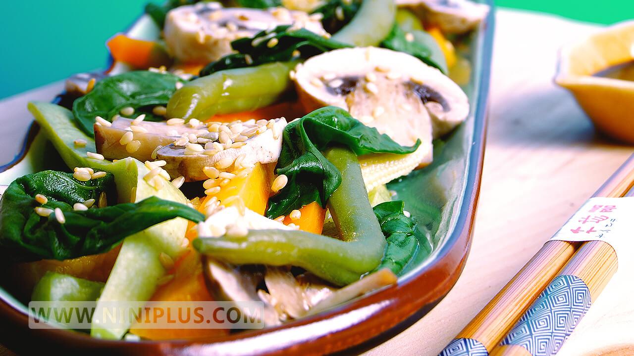 دستور پخت خوراک سبزیجات و کنجد
