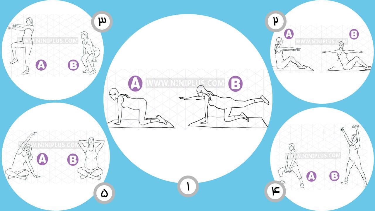 حرکات کششی مخصوص سه ماهه اول،دوم و سوم بارداری